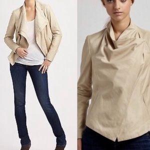 VINCE Paper LEATHER drape front jacket light tan M